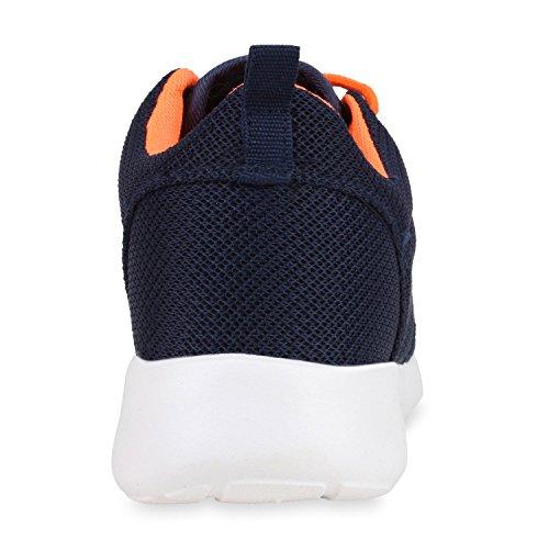 Damen Sportschuhe | Übergrößen | Trendfarben Runners | Sneakers Laufschuhe | Fitness Prints Dunkelblau Orange