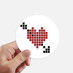 DIYthinker Saint-Valentin Arror Pierce Via Coeur Pixel adhésifs Ronds de 10 cm Mur Valise pour Ordinateur Portable Motobike Decal 8Pcs diamètre 10cm Multicolor