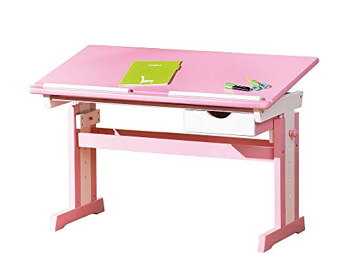 Inter Link Schülerschreibtisch Schreibtisch Arbeitstisch Kinderschreibtisch Massivholz MDF Rosa und weiss lackiert BxHxT: 109 x 65-90 x 56 cm