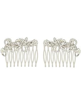 EVER FAITH® österreichischen Kristall symmetrisch zwei Haarkämme Silber-Ton N05934-1