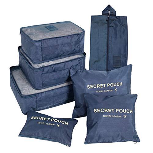 FunYoung Kleidertaschen-Set 7-teilig Reisetasche in Koffer Wäschebeutel Schuhbeutel Kosmetik Aufbewahrungstasche Farbwahl (Schwarzblau)