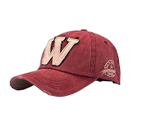 Tongshi SnapBack Hüte Unisex: Sommer Buchstabe W Hockey Baseball Caps Hip Hop Hüte (rot)