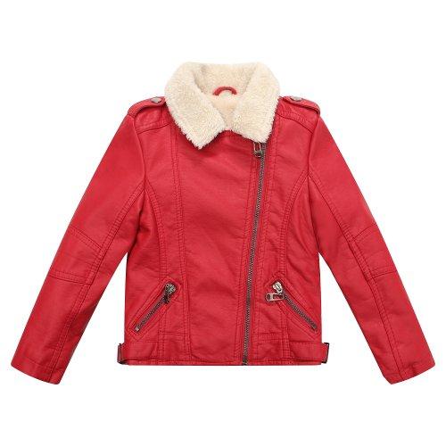 Richie House Boy's Faux Leather Coat with Short Fleece Inside RH1501-B-13/14-...