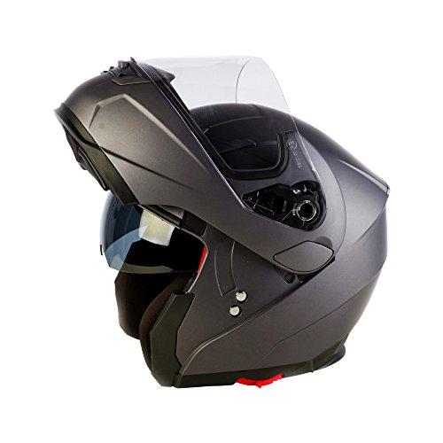 3GO Helmets Motorcycle E225 Flipup Helm, Matt Titan, 53-54