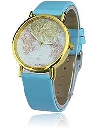 Reloj vintage retro con cuarzo analógico diseño globo terraqueo mundo - Azul