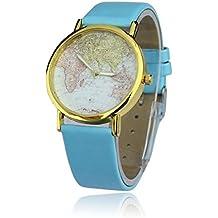 reloj vintage retro con cuarzo analgico diseo globo terraqueo mundo azul