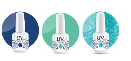 UV-Nails Soak-Off Gel Set Deep Lagoon (224,216,217) 2 Vernis a Ongles & 1 Vernis Paillettes 15ml + Aviva Polissoir a ongles