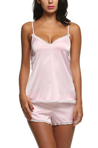 themd Kurz Nachtwäsche Schlafanzüge Sexy Damen Negligee Wäsche-Set aus Satin Pyjama Rosa XXL ()