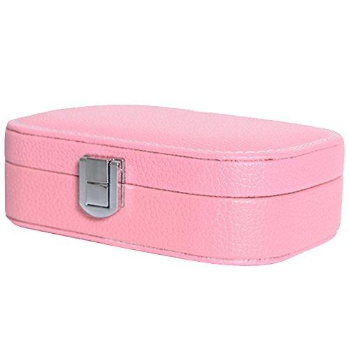 Gosear PU Wasserdicht Samt Ohrring Armband Halskette Ring Schmuck Box Aufbewahrungskoffer mit Spiegel im Inneren Pink