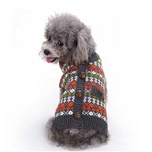 England Stil Muster Haustier Kleidung, Hmeng Nette Warme Hund Pullover Warme Acryl Haustier Welpen Winter Stricken mit Taste (L, Rot) (Reversible Stricken Winter Hut)