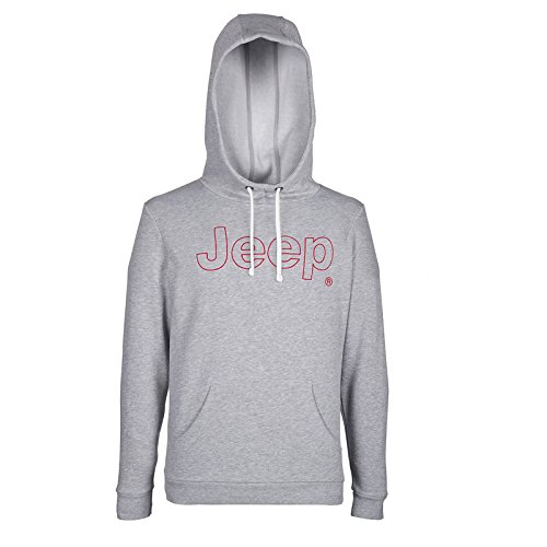 Jeep Herren J Man Hooded NAPPED Sweatshirt Logo Outline J6W, Grey Melange/Red, XL