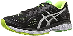 ASICS Mens Gel-Kayano 23 Running Shoe, Black/Silver/Safety Yellow, 6 M US