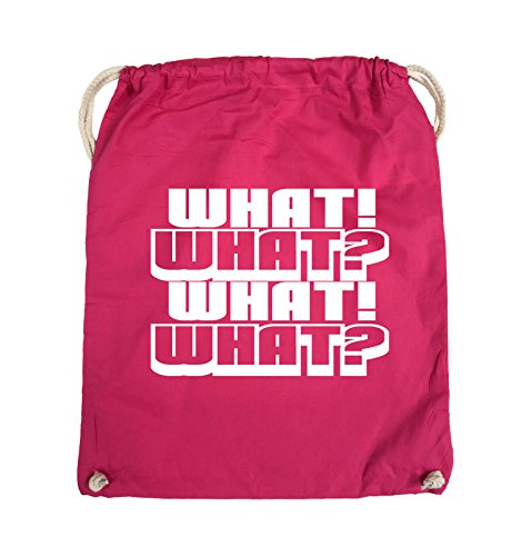 Comedy Bags - WHAT! WHAT! WHAT! WHAT! - Turnbeutel - 37x46cm - Farbe: Schwarz / Silber Pink / Weiss