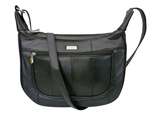 53347aaf29 Ladies Soft Leather Black Handbag - Single Strap Shoulder Saddle Bag – 5  Zipped Pockets – 2 Large Zipped Main Sections – UMBRELLA Pocket - Medium  Size Cross ...