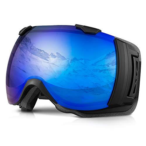 Terra Hiker Masque de Ski Lunettes de Ski Large Vision pour Homme, Femme et Adolescent, Protection 100% Contre UV et Lentille Interchangeable (VLT 28%)