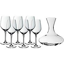 WMF Wein-Set 7-teilig 6x Weinglas easy Plus 22cm 450ml 1x Dekanter 1,5 l Kristallglas Rotweingläser Rotweinglas Kelch elegant bauchig Dekantierer Dekantierflasche Weinbelüfter