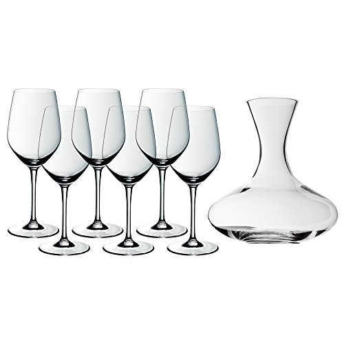 WMF Easy Plus Wein-Set, 7-teilig, 6 Weinglas (22 cm, 450 ml) mit Dekanter (1,5 l), Kristallglas,...