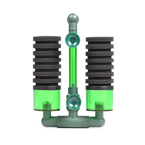 Filtro bioquímico bio de espuma esponja de cabeza doble bomba de aire con ventosa para acuario(QS-200A)