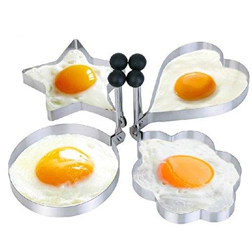 Rrimin 4pcs Kitchen Stainless Steel Pancake Mold Ring Cooking Fried Egg Ring Set