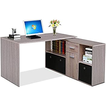 tinkertonk large corner computer desk with storage oak finish