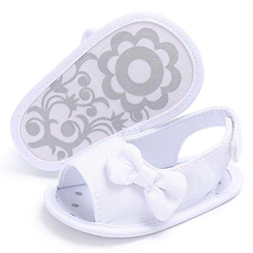 URSING Sommer Neugeboren Mädchen Baby Sandalen Baumwolle Weiche Sohle Bowknot Kleinkind Schuhe Krippe Haken & Loop Prewalker Schuhe (0~6 Month, weiß)