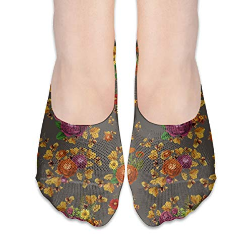MZZhuBao 4 AUTUNNO LIBRO FIORI MUTED MARRONE No Show Socks Donna, Black Greyhound Dog Silhouette Tessuto, morbido, Casual Liner Socks Flat Boat Line antiscivolo, 7.83.1 pollici