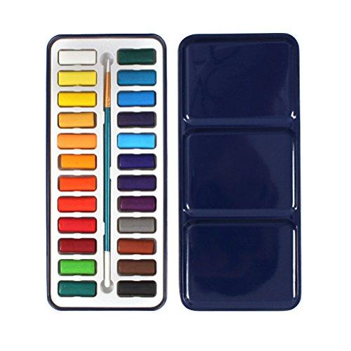 (ULTNICE Aquarell-Lack-Zinn-Metallkasten der festen Aquarell-Farbe stellte mit Bürste 24Color ein)
