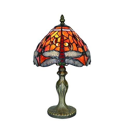 Vintage Tiffany Tischlampen Rote Libelle 8 Zoll, Tiffany Tischlampe Antik Original, Glasmalerei Lampen Schlafzimmer Nacht Lampenschirme Wohnzimmer von FBOSS - Tiffany-art-glas-tisch-lampe