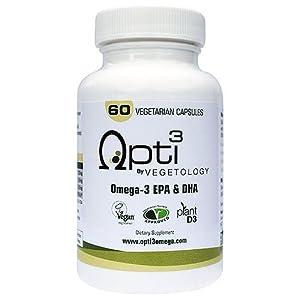 Opti3 Omega-3 EPA & DHA- Vegan Omega 3 Supplement – 60 Vegicaps