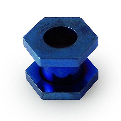 Bijou de corps tunnels pour lobe d'oreille en acier chirurgical style Hexagone Bleu foncé anodisé