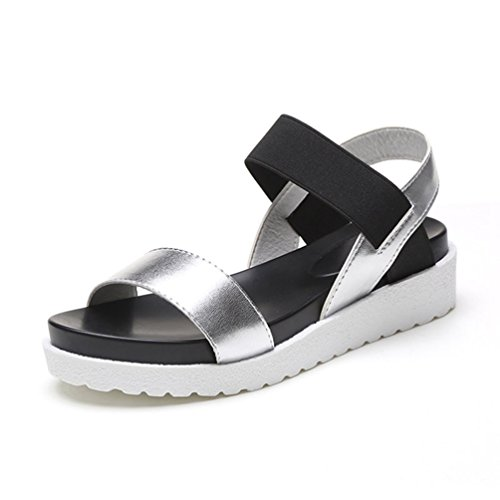 Sandalen Frauen Sommerschuhe Sandalen Frauen Peep-Toe Flache Schuhe (Toe Waffel)