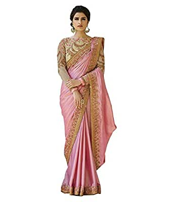 Magneitta Women's Crepe Chiffon Saree with Blouse Piece, Free Size (97036, Pink)