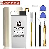 YONTEX Batterie pour Galaxy S6 Edge (Or) avec Verre arrière de Remplacement et kit d'outils de réparation Complet, 2600 mAh 0 Cycle Batterie de Remplacement pour Samsung Galaxy S6e - Garantie 24 Mois