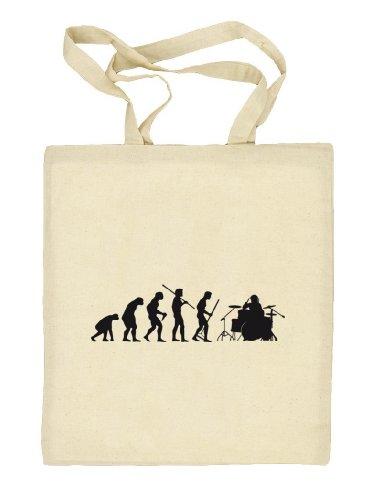 Shirtstreet24, EVOLUTION DRUMMER,Schlagzeuger Drum Kit Stoffbeutel Jute Tasche (ONE SIZE) Natur