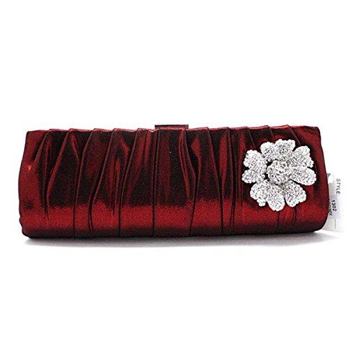 Lady Abendessen Tasche Handy Kosmetiktasche Dame Clutch Seide Laub Damenhandtasche Redwine