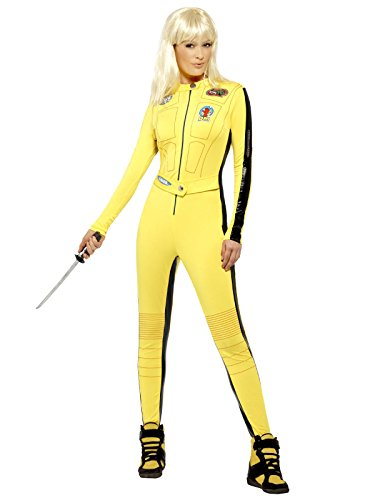 Kill Bill Jumpsuit Damenkostüm Lizenzware gelb schwarz (Kostüm Pulp Halloween Fiction Uma)