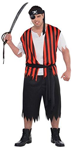 Matey Ahoy Kostüms (Fancy Ole - Herren Männer Piraten Set Kostüm - Ahoy Matey, Rot, One)