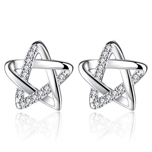 Lovinda Mädchen Silber Überzogene Bolzenohrrings Stern Zirkon Ohrring Stud Frauen Mode Ohrring Billig Schmuck für Dame Geburtstagsgeschenk x 1 para