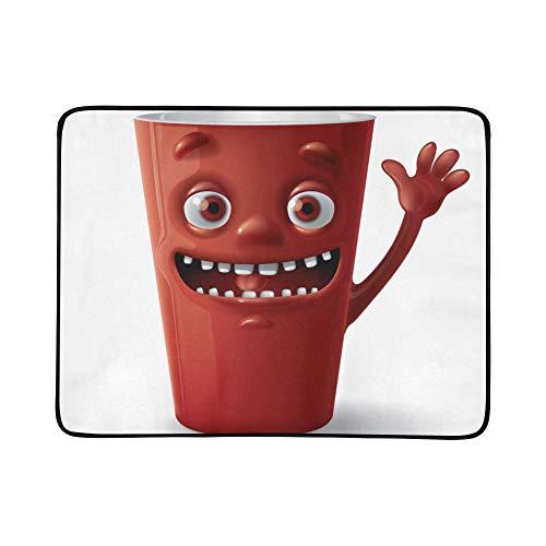 WYYWCY Nette Karikatur-Tasse Tee-Getränk-Muster tragbare und Faltbare Deckenmatte 60x78 Zoll-handliche Matte für kampierenden Picknick-Strand -