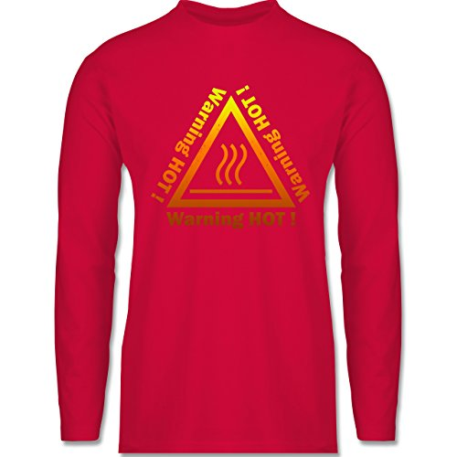 Shirtracer Sprüche - Warning Hot - Herren Langarmshirt Rot