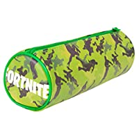 Fortnite Pencil Case for Boys | Kids School Stationery | Barrel Pencil Case in Blue or Green | 21cm Large Pencil Case for Boys, Girls, Teenagers | Back to School Stationery Set for Boys