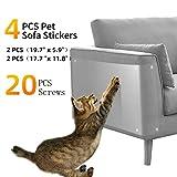 Pidsen Protector de Muebles Gatos, 4PCS Transparente Autoadhesivas contra Arañazos de Gato Protector con 20 Tornillos Rascador para Gatos y Perro, Protector de sofá para Detener