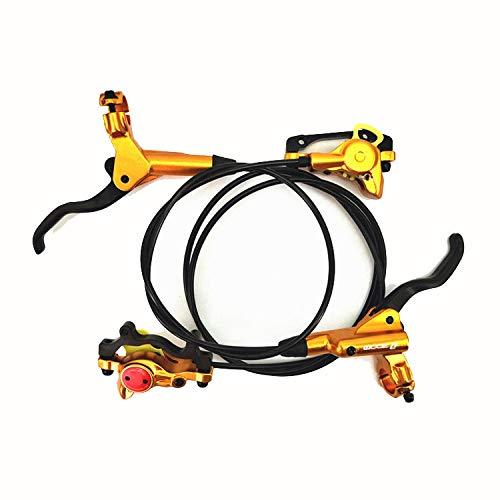 Zoom- HB-875 - Juego de Frenos de Disco hidráulico Delanteros y Traseros para Bicicleta de montaña MTB BMX (750 mm y 1400 mm), Dorado