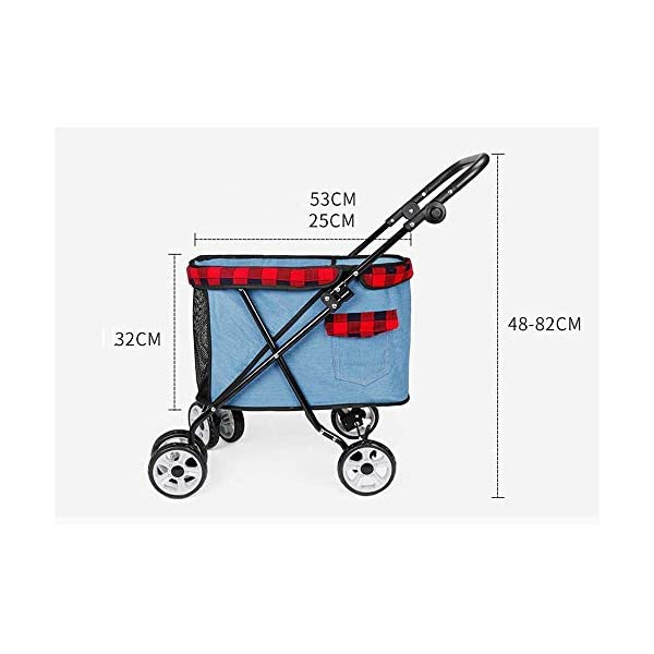 XYZK Travel Stroller Dog Cat Pushchair Pram Jogger Buggy With 4 Wheels XYZK **INCREASES QUALITY OF LIFE: No matter if your little friend had surgery, is injured, sick, scared, a puppy or a senior dog, this pram will give you the opportunity to take longer outings without having to worry about your beloved . **SAFE & COMFORTABLE: The soft and cozy mattress guarantees high comfort. The tear proof, durable netting provides perfect airflow, visibility and keeps insects out. **EASY ACCESS: Zippers make it possible to put your pet in the stroller from both sides, back and front. 5