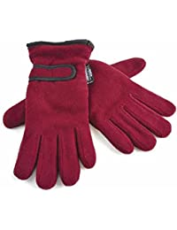 Ladies Warm Fleece Winter Gloves Thermal Thinsulate Lined & Wrist Strap Red