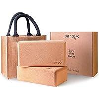 Parpox Bloque Yoga de Corcho Premium | Yoga Block en Corcho 100% Natural y Sostenible | Set con Bolsa de Almacenamiento y Transporte Estirar, Pilates y Todo Tipo de Yoga | Paquete de 2