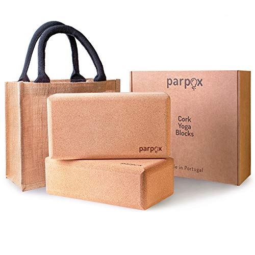 Premium Yoga Block Kork Set | 100% Natürliches und Nachhaltiges Korkmaterial | Mit Lagerung und Tragetasche | Perfekt als Dehnhilfe, Pilates & für alle Arten von Yoga 2er Set -