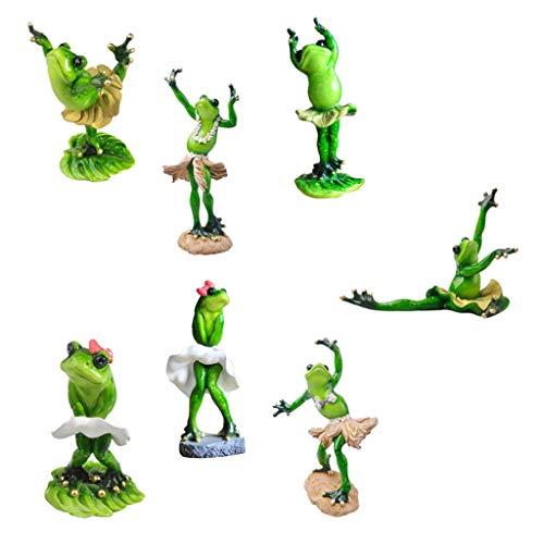 Tubayia 7 Stück 3D Tanz Frosch Statue Skulptur Dekofigur Kunsthandwerk für Wohnzimmer Haus Büro Dekoration Geschenk