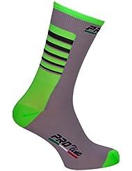 Proline equipo ciclismo calcetines gris Fluo verde ciclismo calcetines 1par talla nuevo