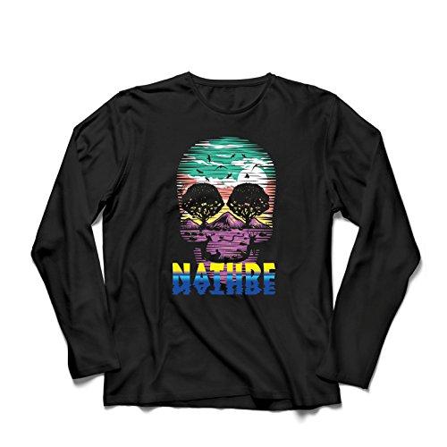 Langarm Herren t Shirts der Natur-Schädel - retten Sie den Planeten, stützen Sie wild lebende Tiere (X-Large Schwarz Mehrfarben) (Halloween-kostüme-filme 80er Jahre Der)